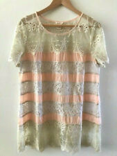 SUNDANCE CATALOG Lace in Bloom Peach Lace Tunic LARGE Orig. $148 NWT