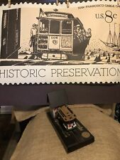 San Francisco 28x18 cable car Stamp and-music box moving train wood base w/house