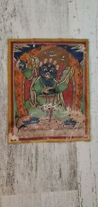 Mongolian Tibetan antique miniature Tsakli Thangka painting Mahakaka RARE
