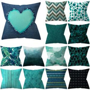 """Home Decor Cushion Cover Teal Blue Series Throw Sofa Waist Pillow Case 18"""""""