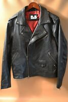 #145 TOPMAN Black Leather Biker Jacket Size M  MADE IN INDIA