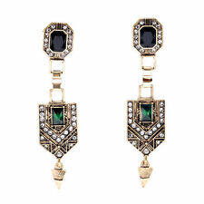 Costume Earrings Clip on Pendant Gold Art Deco Green Emerald Retro Class J8A7