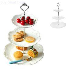 Cake Stand Vintage Look 3 Tier Hardware Porcelain Dessert Cupcake Wedding Platte