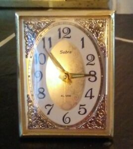 """SABRE BEDSIDE ALARM CLOCK, WIND-UP STAND-UP c 1965. 3"""" X 2 1/4"""", WORKS PERFECTLY"""