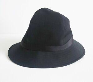 RARE $730 NWT YOHJI YAMAMOTO Black 100% VIRGIN WOOL FEDORA Bucket Hat One Size