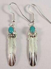 Navajo Handmade Sterling Silver Turquoise Hook Earrings - Virginia Becenti