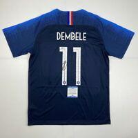 Autographed/Signed OUSMANE DEMBELE France Blue World Cup Jersey Beckett BAS COA