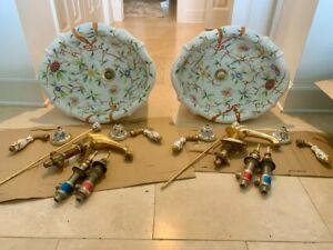 2 Sherle Wagner sinks, Summer Garden pattern with matching faucets