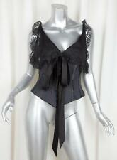 VALENTINO Womens Black Silk Lace Bow Sleeveless Corset Bustier Top Blouse 6