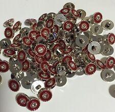 13mm Silver & Red Shank Buttons - Australian Supplier