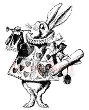Deep Red Rubber Cling Stamp White Rabbit from Alice in Wonderland