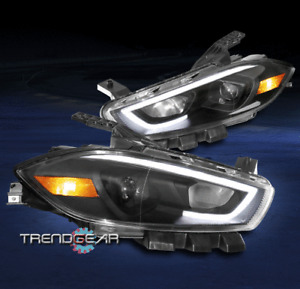 For 2013 2014 2015 2016 Dodge Dart LED Tube Projector Headlights Headlamps Black