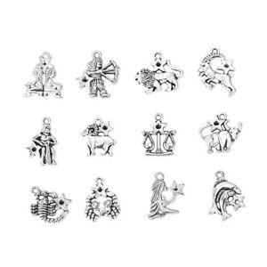 ❤ 12 x Silver Tone ZODIAC Constellation Star Sign Charm Pendant Jewellery UK ❤