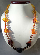 24,8Inch Nice Glittering Faceted Mixed Genuine Baltic Amber Necklace