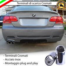 COPPIA TERMINALE SCARICO CROMATO LUCIDO ACCAIO INOX BMW SERIE 3 E92 E93 SCARICO