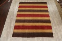 Striped Modern Gabbeh Hand-Knotted Area Rug Oriental Living Room Carpet 8x10