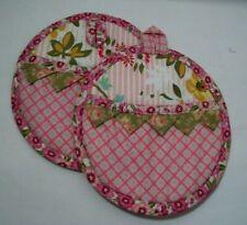 Vintage Potholders Spring theme Pink Flowers Unique Pockets & Hanger Hook New