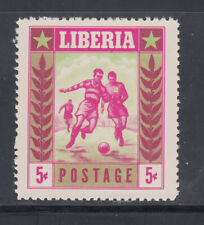 Liberia # 348 Trial Color Proof in Cerise & Green MNH Sports Football Soccer