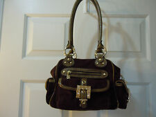 Kathy Van Zeeland Chocolate Brown Suede double strap embossed handbag