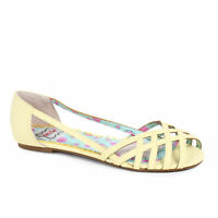 BETTIE PAGE BP100-CARREN Yellow Rockabilly Retro Huarache Easter Flat Sandals