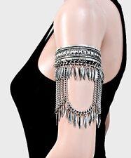 Metal Silver Upper Arm Fringe Cuff Gypsy Costume Wedding Bracelet