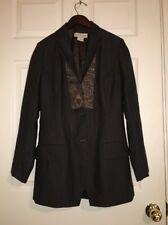 💕DRIES VAN NOTEN Wool Nylon Brown Boho Embroidered Pinstripe Blazer Jacket 38