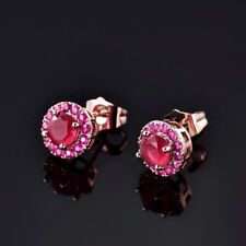 Round Red Ruby Crystal Women Rose Gold Filled Stud Earrings Lady Party Jewellery