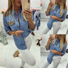 Womens Leopard Print Denim Blouse Ladies Long Sleeve Buttons Jeans Tops T Shirt