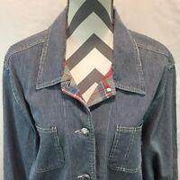 Sag Harbor Sport blue white hickory striped denim jacket button front Large LL12