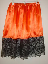 "Halloween orange satin half slip spider web trim 23.5""-45"" waist sissy-XXL 1X 2X"