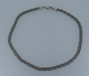 """14k White Gold 10"""" Woven Braided Fox Tail Wheat Anklet - 3.58 Grams"""
