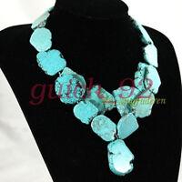 Huge Turquoise necklace irregular stone Bib  double-deck women's jewelry #92