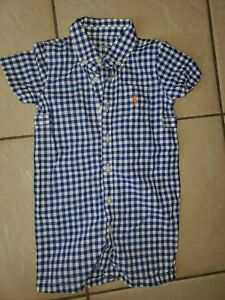 Ralph Lauren Polo Infant Plaid Blue And White Romper Size 12 Months