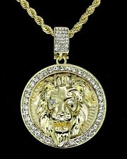 Mighty Lion Mens Iced Cz Round Pendant 24