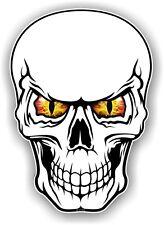 Cráneo Gótico realista con amarillo y rojo Mal Ojos Vinilo Coche Moto Adhesivo Calcomanía