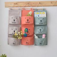 HN- KF_ 3Pockets Wall Hanging Storage Bag Home Closet Toy Cosmetic Organizer Pou