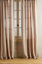 NEW ANTHROPOLOGIE GREY STRIPED LINEN CURTAIN WINDOW PANEL 50 X 108""