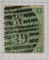 GB sc#48 used stamp QV sg#101 cv$175.00 1sh W-39 hand SOTN cancel Plate 4