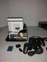 Sony PlayStation 2 PS2 Slim Black Console Controller Power Supply Bundle Tested.