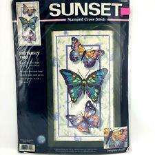 Sunset BUTTERFLY TRIO 13120 Sealed Cross Stitch Kit Terri Noll