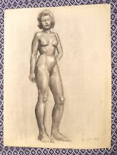 Nude Female Original Charcoal Painting by Artist Robert Chisholm 1948 Great Gift