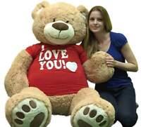 I Love You Giant 5 Foot Teddy Bear Soft 60 Inch Wears I Love You T-shirt 16 Lbs