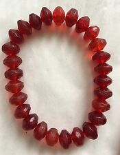 "* Antique 1920 Africa Trade Red ""Vaseline"" Facet Glass Bohemian Beads 11 x 15mm"
