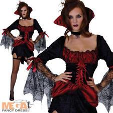 Sexy Burlesque Vampiress Ladies Fancy Dress Halloween Costume Vampire Outfit NEW