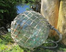 "JAPANESE Blown GLASS Fishing Float Large 12""D Aqua Patch-x2 Akita T WP#8 Vtg 17G"