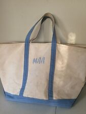 LL BEAN Boat & Tote Large Top Zip Bag Light Blue Natural Canvas