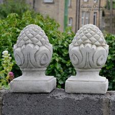 ACORN PILLAR CAPS Garden Ornament Hand Cast Stone Gate Post Decor ⧫onefold-uk