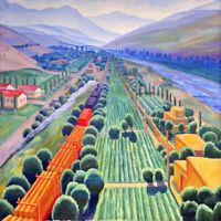 Landscape with a Train : N. Karaxan : 1930s : Archival Quality Art Print