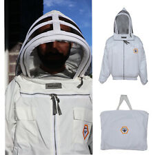 Beekeeping Cotton Ventilated Beekeeper Jacket Bee Hat Fencing Veil w/Bag - Large