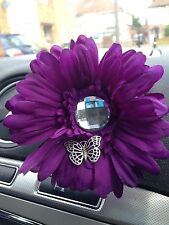 YANKEE CANDLE CAR VENT STICK GERBERA GEM AND BUTTERFLY DETAIL FLOWER DEEP PURPLE